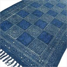 sentinel blue indigo cotton block print accent area dhurrie rug woven weave boho chic ind
