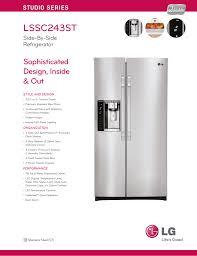Refrigerator Light Out Lg Lssc243st Specification Sheet Manualzz Com
