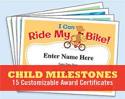 Kid Certificates Milestones Learn To Swim Ride A Bike Awards