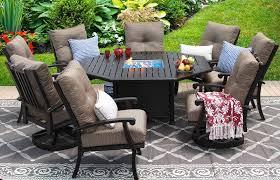 barbados cushion aluminum outdoor patio 9pc set 2 swivel rocker 6 dining chair 71 octagonal firetable series 4000 with walnut brown cushion