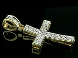 10k yellow gold round cut pave set diamond cross pendant 0 30ct indian kundan ic and gold jewelry in atlanta and