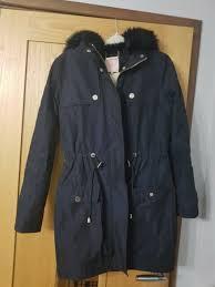 ted baker las faux fur hooded parka coat navy size 2 broken zip