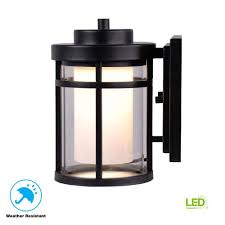 Home Depot Garage Lights Outdoor Home Decorators Collection Black Outdoor Led Wall Lantern