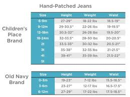 Old Navy Size Chart Orange Cream Patch Jeans