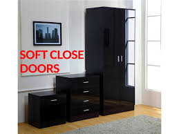 bedroom furniture black gloss. gladini black high gloss 3 piece bedroom furniture set wardrobe chest bedside