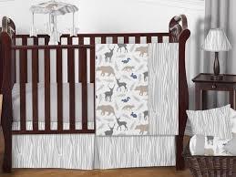 unique gray forest animal deer bear neutral perless baby boy bedding crib set