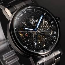 aliexpress com buy winner skeleton black stainless steel blue aliexpress com buy winner skeleton black stainless steel blue hands luminous mens watches top brand luxury watch men montre homme automatic watch from