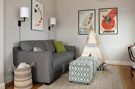 gray couch comfortable sleeper sofa family room transitional with beige rug blanket basket desk gray