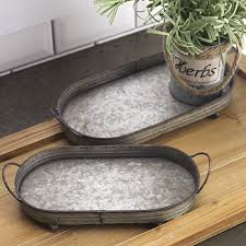 Decorative Metal Serving Trays Oval Metal Serving Trays Set of 100 Antique Farmhouse 96