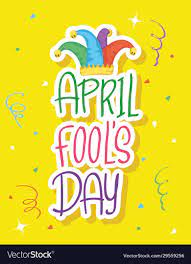 Happy april fools day card with lettering and hat Vector Image