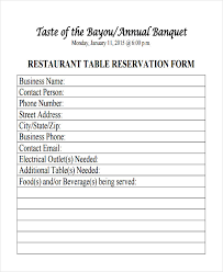 Table Reservation Template Free 10 Restaurant Reservation Forms In Samples Examples