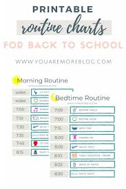 Morning Routine Printable Chart Back To School Routine Free Printable You Are More Blog