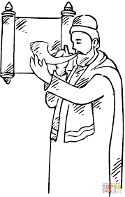 rosh hashanah 14 coloring page man with a shofar near scroll coloring page free printable on printable scroll