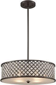 elk 32105 4 genevieve oil rubbed bronze drum hanging pendant light loading zoom