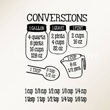 Kitchen Conversion Chart Decor Kitchen Measurement Decals Baking Conversion Decals