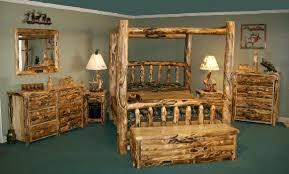log rustic furniture amish. Amish Log Furniture Bedroom Set Of Canopy Bed Frame And Dresser With Mirror Also Chest Rustic S
