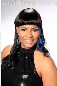 weave hairstyle with fringe and k a boo highlights