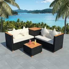 <b>4 Piece Garden Lounge</b> Set with Cushions Poly Rattan Black ...