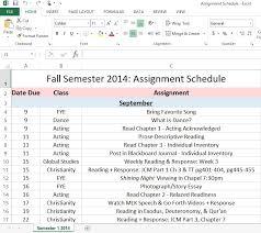 Homework Calendar Excel My Desk Assignment Schedule Dani Dearest