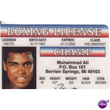 Novelty Card Ebid Ali On License Muhammad Photo Clay Cassius United Drivers 64083063 States Fun