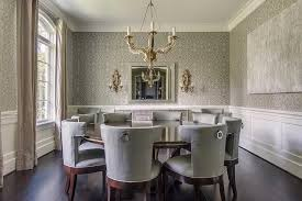 gray dining room with wainscoting