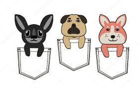 cute cartoon dogs sitting in pockets