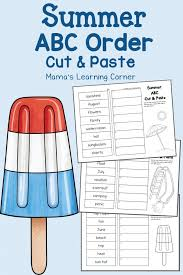 Summer Cut and Paste: ABC Order Worksheets - Mamas Learning Corner