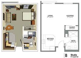 One Room Apartment Floor Plans