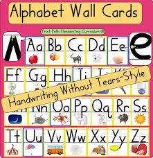 alphabet picture cards alphabet wall cards handwriting without tears style font your