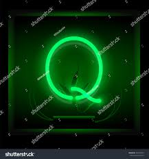 Realistic neon letter Q vector illustration. Glowing font. Green light.