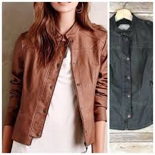 details about anthropologie hei hei vegan leather jacket sz xs olive green moto quilted boho