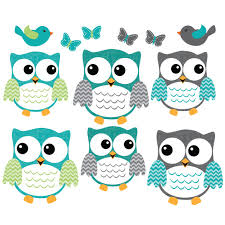 teal owl wall decor with bird wall decals for children
