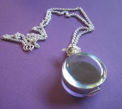 glass locket necklace plain round in
