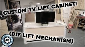 custom tv lift cabinet with diy manual lift mechanism