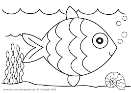 Printable Toddler Coloring Pages Fish Kids Pre Writing Clip Art
