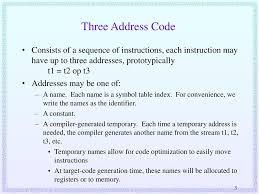 3 Address Code In Compiler Design Compiler Design 21 Intermediate Code Generation Ppt Download
