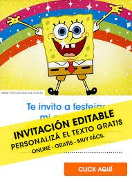 Tajetas De Cumpleanos 9 Invitaciones De Bob Sponja Spongebob Gratis Para Editar