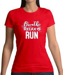 Atme Entspann Lauf Damen T Shirt Lustige Sprüche Yoga Relax Parcour