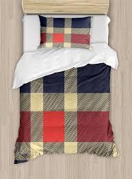 checd duvet cover set vintage plaid scottish tartan pattern with retro display checks lines decorative bedding set with pillow shams dark blue c