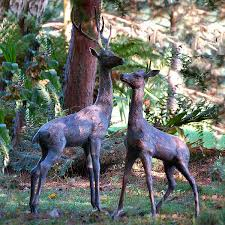 aged bronze finish deer garden statues extra large uk free delivery