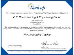 Certifications C F Roark Welding Engineering Co Inc