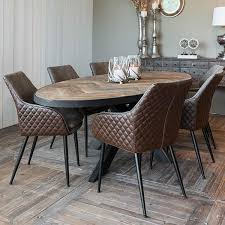 sus oak parquet industrial oval dining table modish living