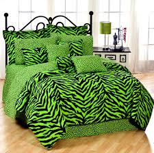 black and lime zebra print bedding set