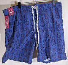 New Merona Mens Blue Pineapple Swim Trunks Shorts Xl Extra