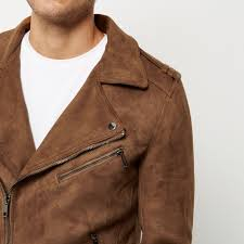 river island men topsm e8l5965 light brown borg collar biker jacket river island clothing