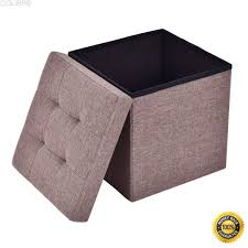 get ations colibrox folding storage cube ottoman seat stool box footrest furniture decor brown new