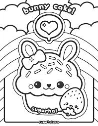 Cute Bunny Cupcake Coloring Page