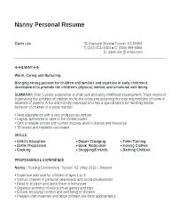 Resume For Nanny Best Resume For A Nanny Llun