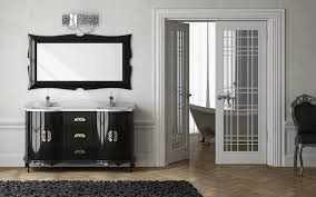 interior ideas contemporary design of rectangular mirror with black wood frames on the wall and black