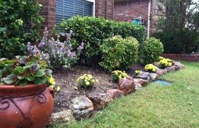 flower garden designs. Rock Garden Designs Front Yard With Flower Bed And Green Grass Plus Potted Plants T